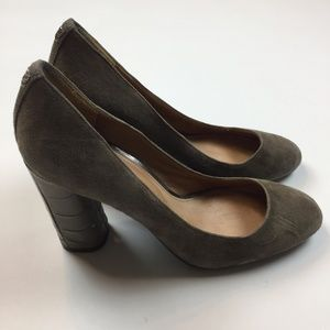 Coach Ophelia Womens Heels 8 B Taupe Suede Leather